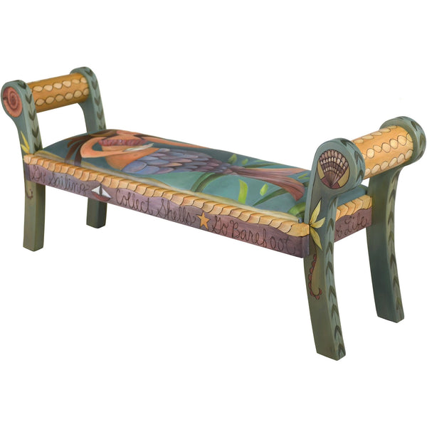 Rolled Arm Bench with Leather-Mermaid
