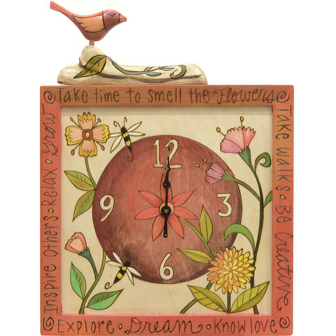 Square Clock with Bird-Smell the Flowers