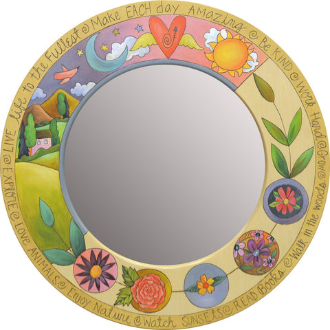 Sticks Mirror-Lg, Circle-Landscape & Floral