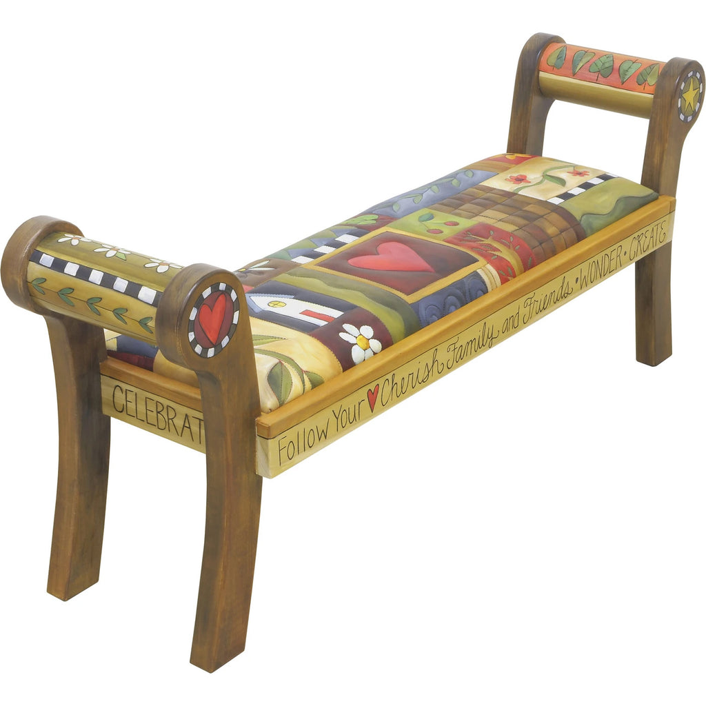 Rolled Arm Bench with Leather-Crazy Quilt