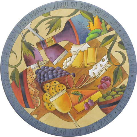 "Sticks Lazy Susan 20""-Charcuterie & Wine"