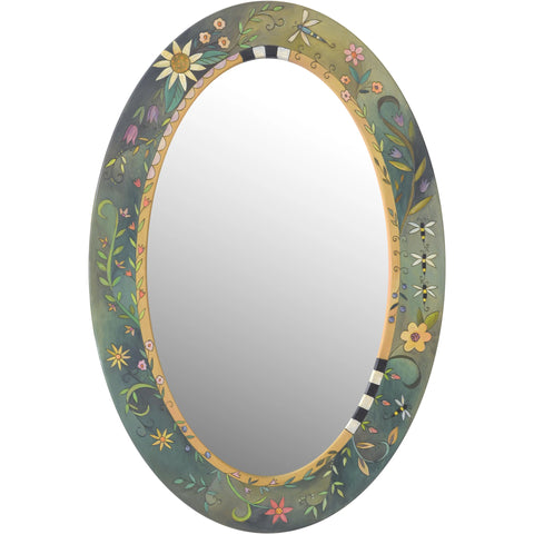 Oval Mirror-Floral