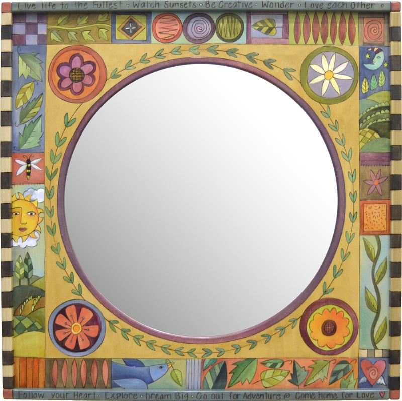 Sticks Square Mirror-Floral Crazy Quilt