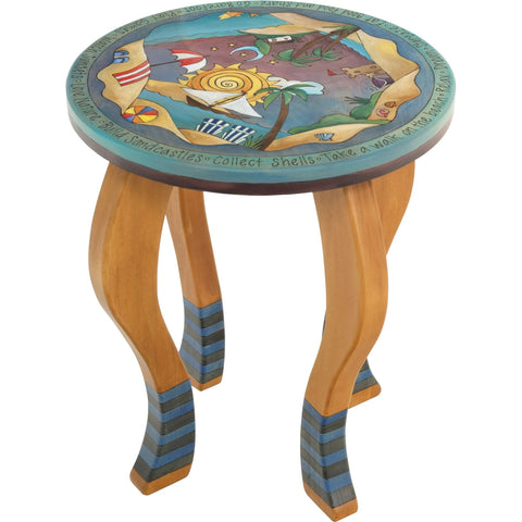 Round End Table-Beach Scene