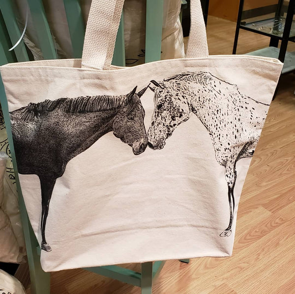 Kissing Horses Tote Bag