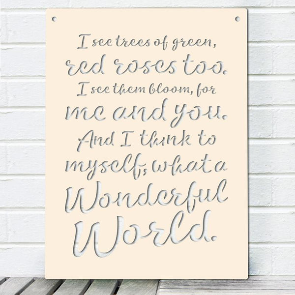 I See Trees (Wonderful World) Sign