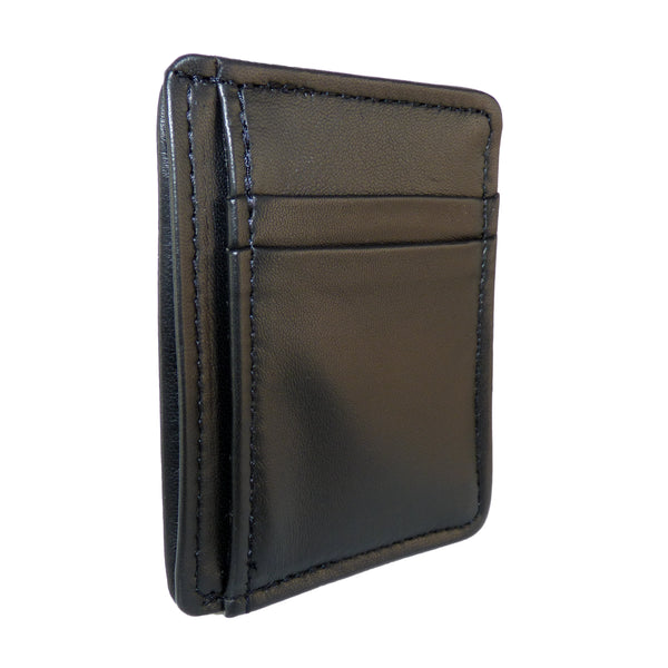 Leather Front Pocket Wallet - Black Lambskin
