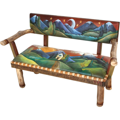 Loveseat Bench with Leather-Landscape