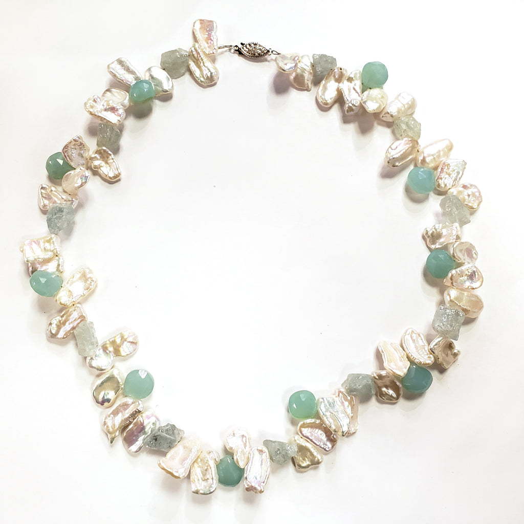 Keshi Pearl, Aquamarine & Chalcedony Necklace