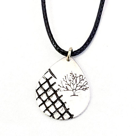 Pewter Teardrop Pendant-Tree