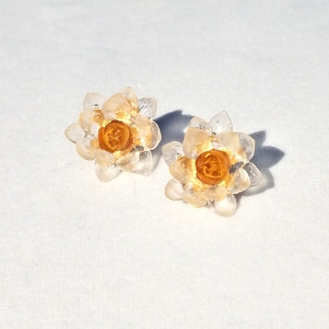 Glass Flower Earrings-Clear & Yellow