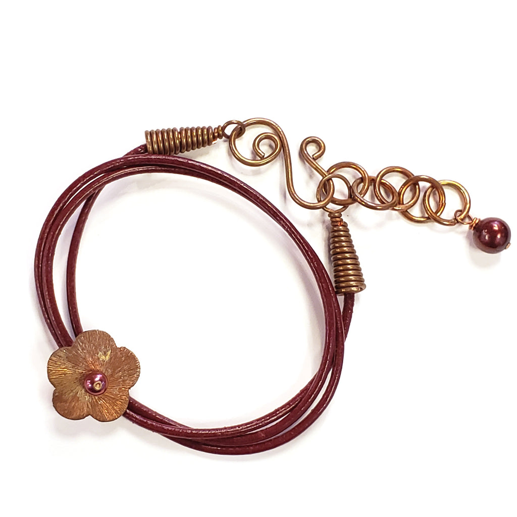 Copper Flower & Red Leather Bracelet