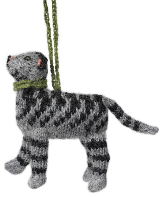 Hand Knit Cat Ornament-Tabby
