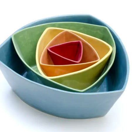 Triangle Nesting Bowls-Bright