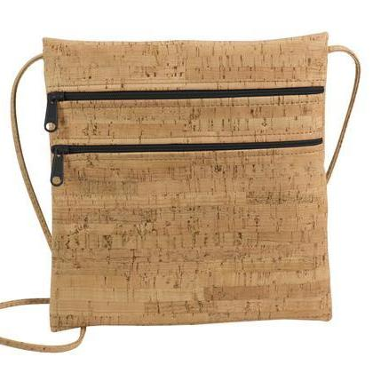 Crossbody Cork Purse-Black Zipper