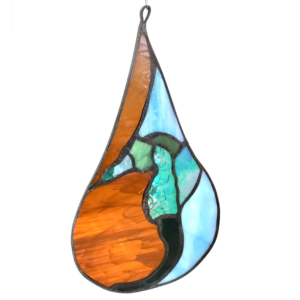 Stained Glass Teardrop-Seahorse