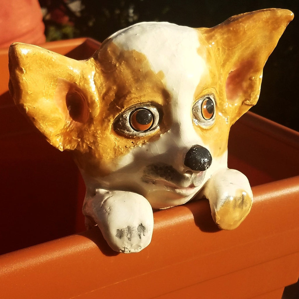Flower Pot Friend-Brown & White Chihuahua