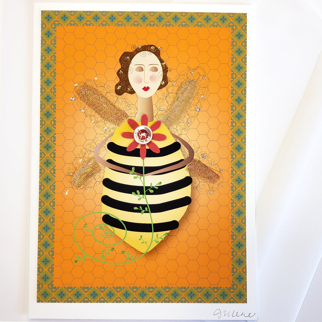 Greeting Card-Folk Art Bee