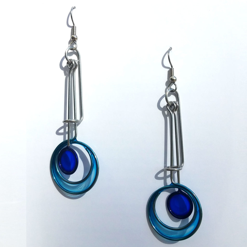 Resin Earrings-Aqua, Cobalt