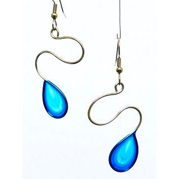 Resin Earrings-Aqua