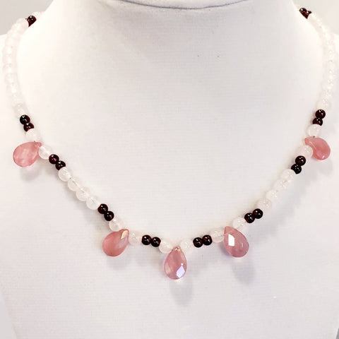 Pink Tourmaline Teardrop Necklace