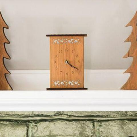 Wood Mantle Clock-Floral