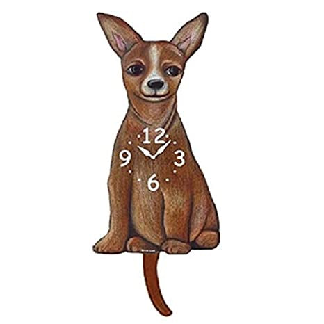 Tail Wagging Clock-Chihuahua, Tan