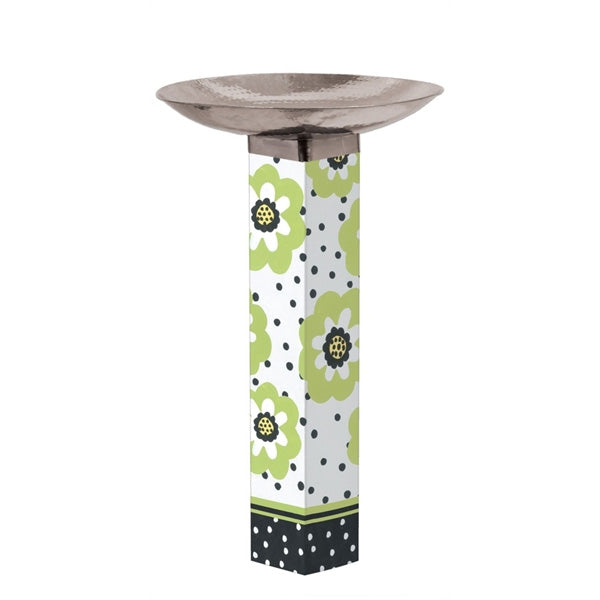 Art Pole Bird Bath-Polka Dots & Flowers