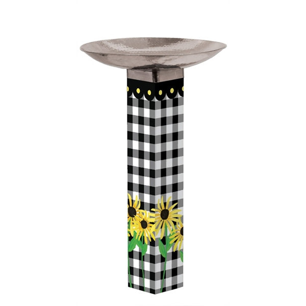 Art Pole Bird Bath-Checks & Yellow Daisies