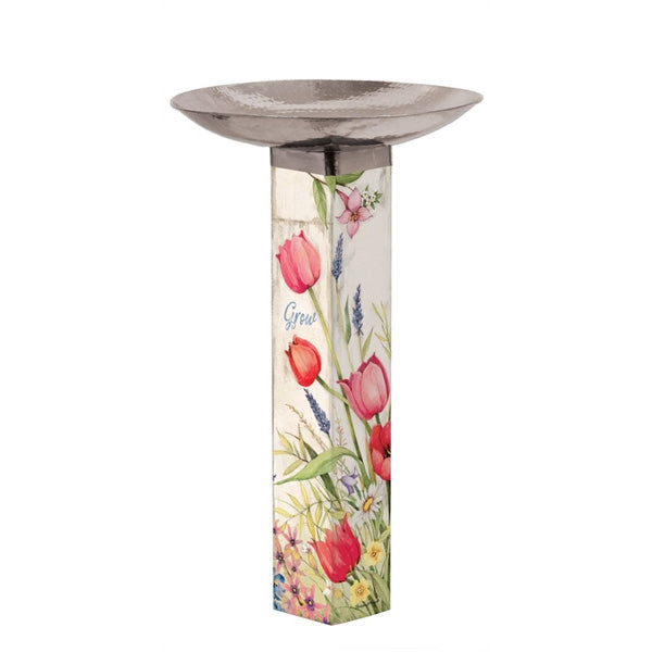 Art Pole Bird Bath-Bloom with Grace