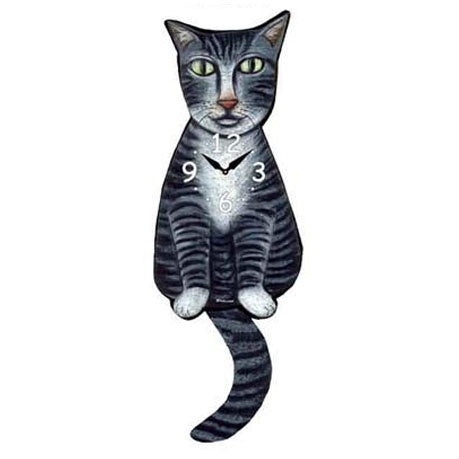 Tail Wagging Clock-Tabby Cat, Grey