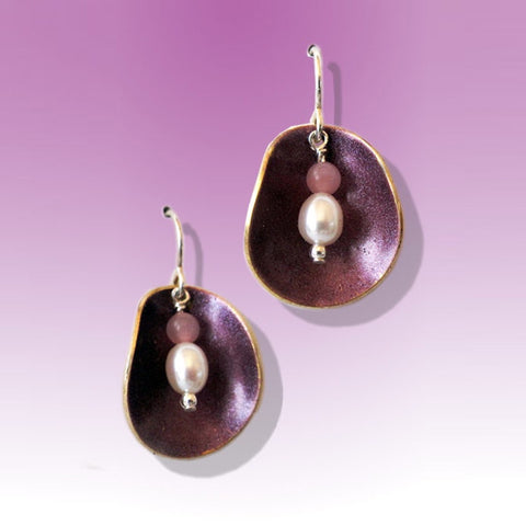 Half Shell Earrings-Purple