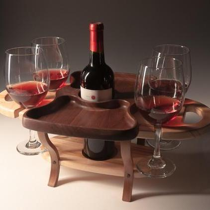 Fine Wine Caddy-1 Bottle 4 Glasses-Maple
