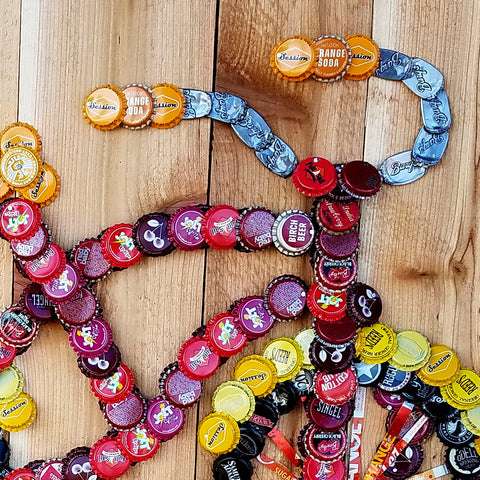 Folk Art Bottlecap Bicycle-Warm Colors