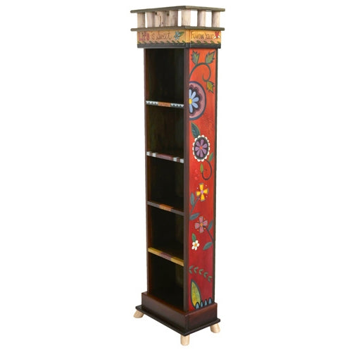 Tall Bookcase-Contemporary Floral