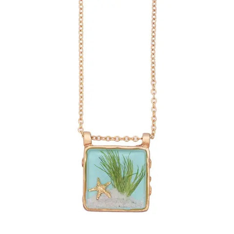 Sand Dune Necklace-Gold, Md Square