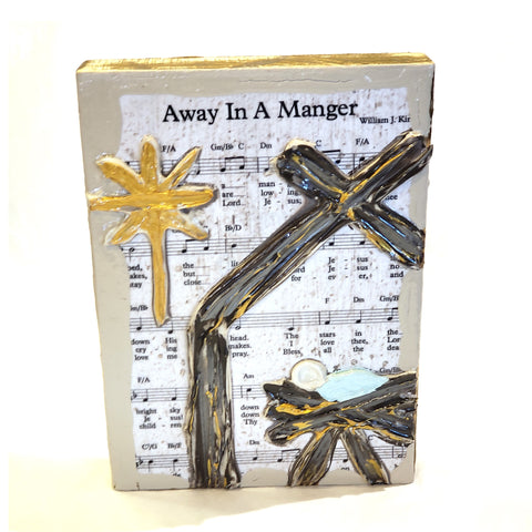 Sheet Music Art-Away in a Manger, 8x10
