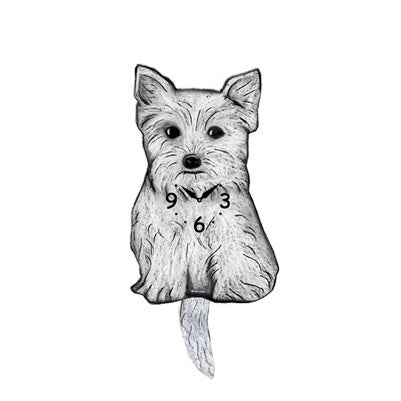 Tail Wagging Wall Clock-Westie