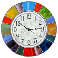 bright stained glass clock