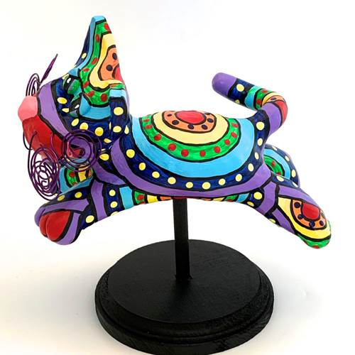Flying Cat Sculpture-Circles & Dots