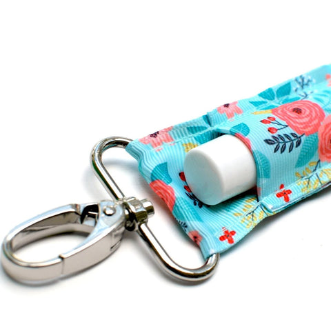 Lippy Clip-Aqua with Coral Floral