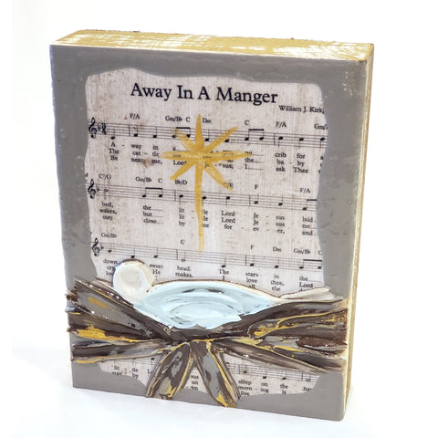 Sheet Music Art-Away in a Manger, 6x7