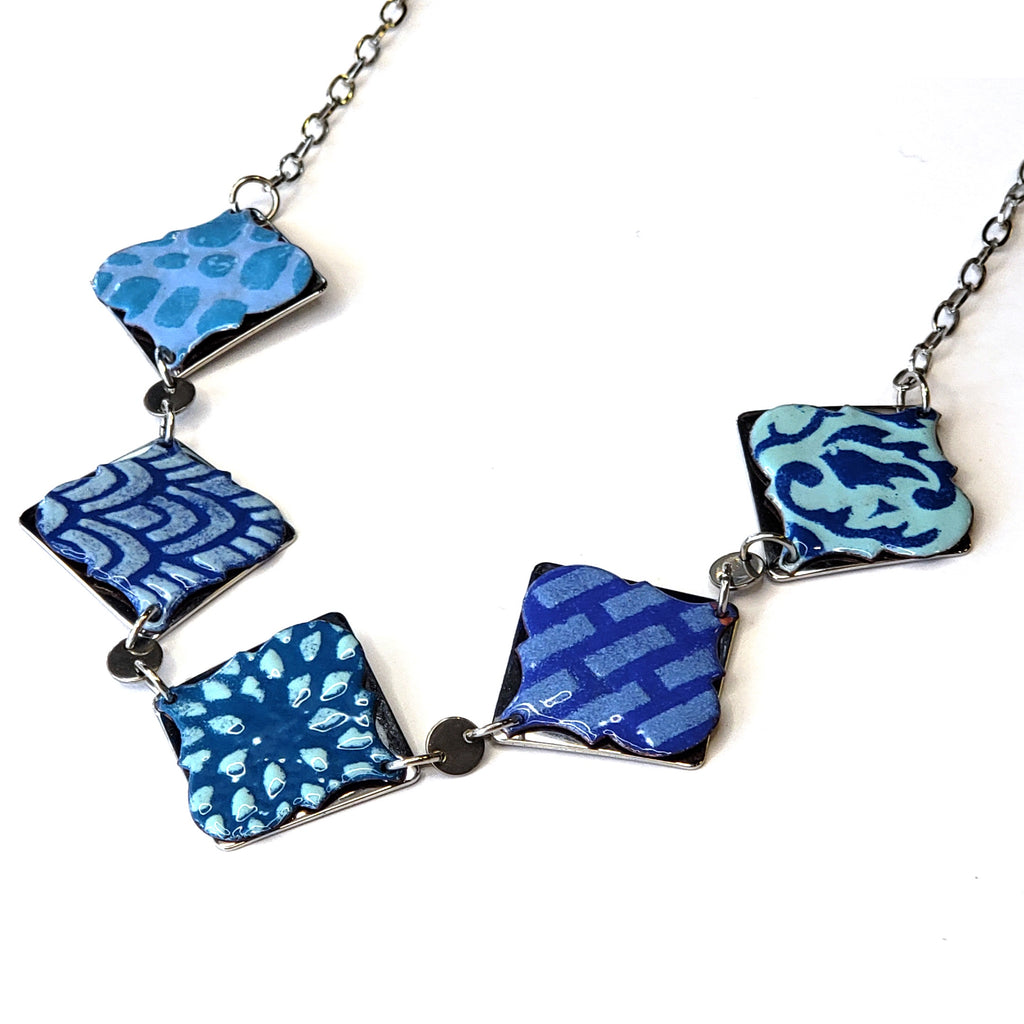 Morrocan 5 Necklace-Blues