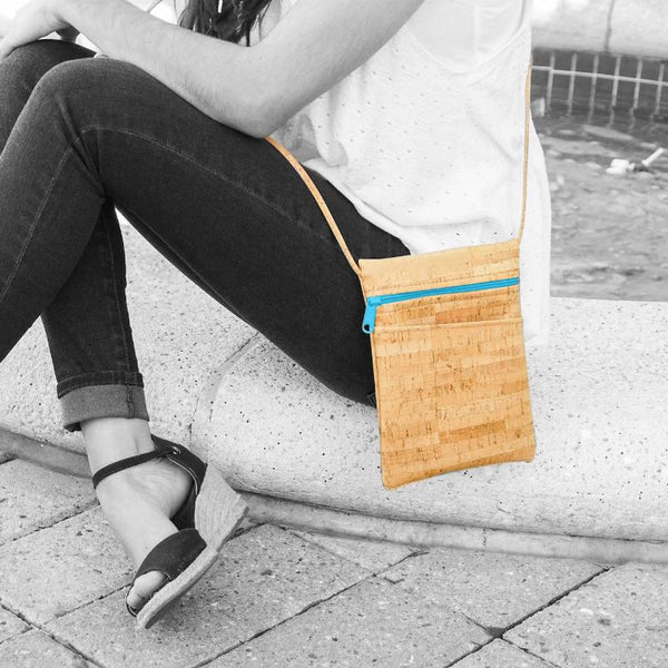 Mini Crossbody Cork Purse-Aqua