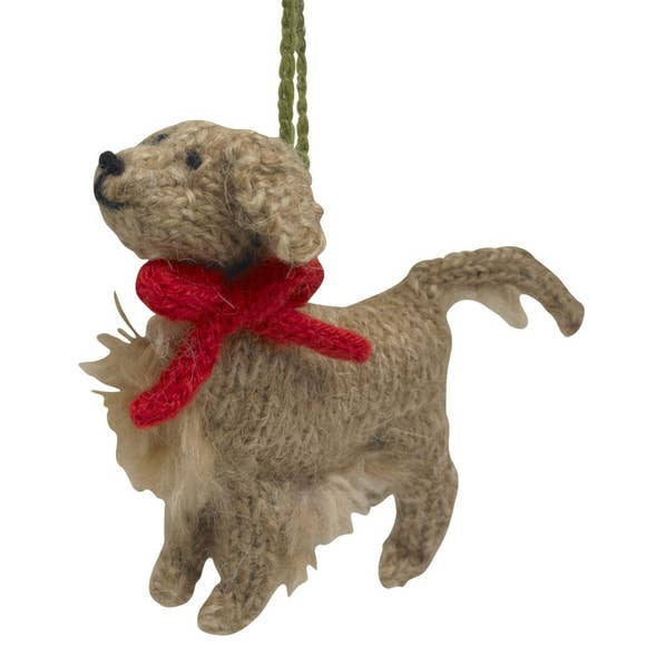 Hand Knit Dog Ornament-Golden
