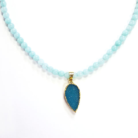Seafoam Jade & Aqua Druzy Necklace