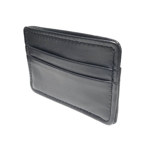Leather Card Holder Wallet-Black Lambskin