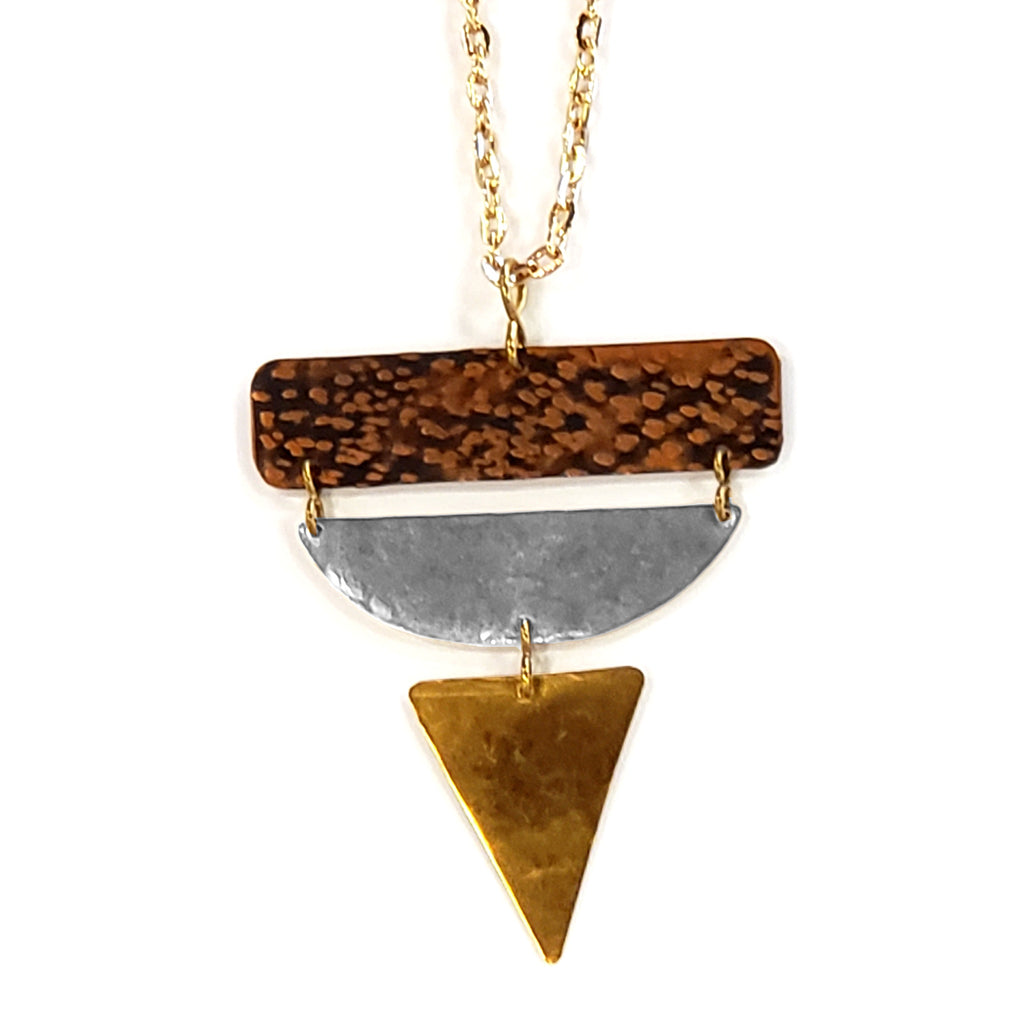 Tri-metal Geometric Necklace