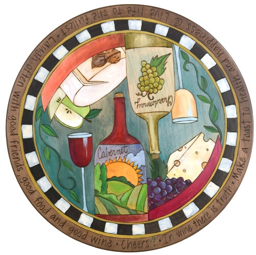 "Sticks Lazy Susan 20""-Wine & Cheese"