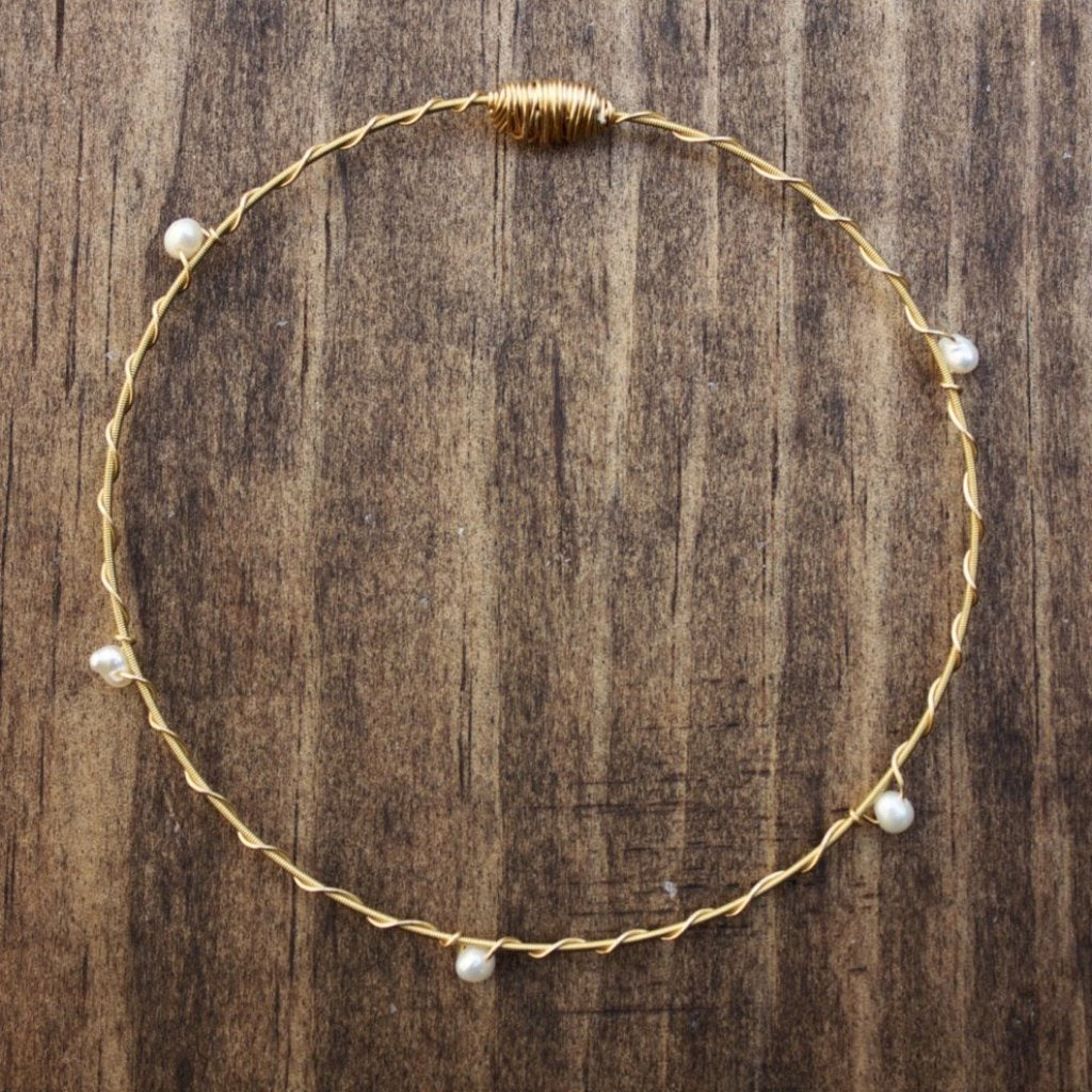 Recycled Guitar String Bracelet-Pearl